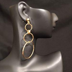 Gold large 3 hoop hanging earrings